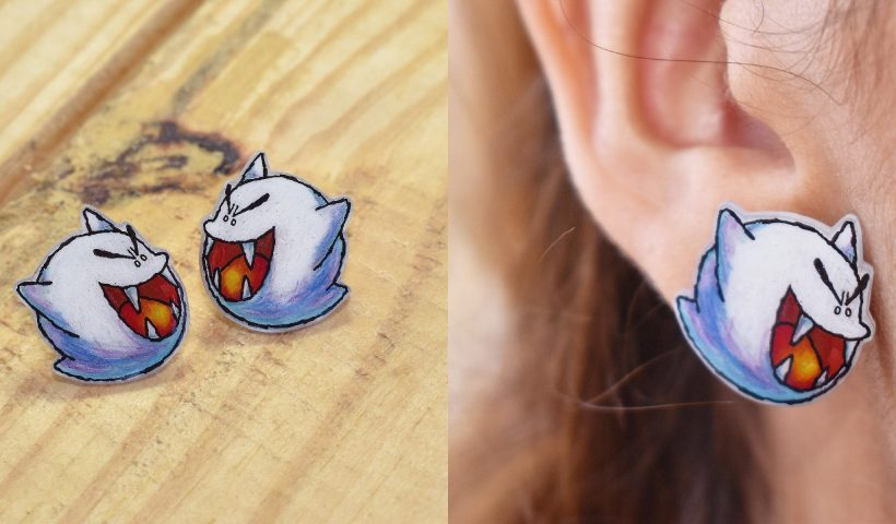 7wk0vamqy8o41 820x480 - more earrings. These are Boo (Super Mario World 2) shrinky dinks earrings I made - hobbies, crafts
