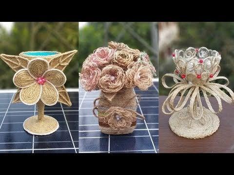 9tKhH9sqngMKsr7l5W3 EEH7a ATg T8HgZfoJtFFDk - 3 jute burlap flower and showpiece craft ideas || Jute decoration items for home decor - hobbies, crafts