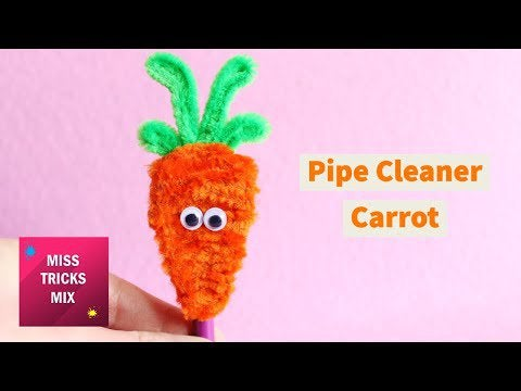 CrKhflhLnDrIvzTEa74 qHdF7w0CnDfuUbqRynK jpY - DIY Pipe Cleaner Carrot Pencil Topper   Easter Crafts - hobbies, crafts