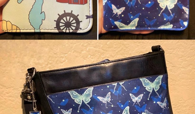 r34d3dbhu6l41 820x480 - I turned this nautical-themed wallet I bought into something that would match my handbag. Both the wallet & handbag were thrifted, and have been freshened up with my own luna moth pattern; it was digitally hand-drawn, printed out on card stock, & decoupaged directly on, kind of resembling leather! - hobbies, crafts