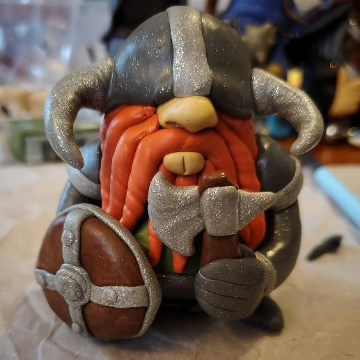 yndwlcdtf3l41 - A D&D dwarf-fighter I made. He is sculpted from polymer clay. - hobbies, crafts