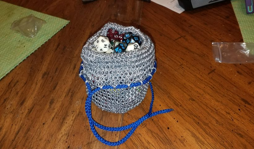 227bhka183t41 820x480 - I started weaving chain maille in January. Just finished this dice bag in 18 awg aluminum. I'm very proud of my results! - hobbies, crafts