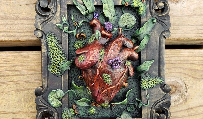 """o670d1j3h0t41 820x480 - Finally finished painting this one. I am absolutely in love with how this came out!! Anatomical heart sculpture and flora in frame. Painted with acrylics. Measures approx 9""""x7"""" - hobbies, crafts"""