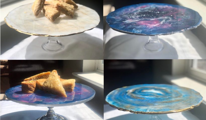 v7zho152u0t41 820x480 - Recently made some cake stands using resin and acrylic paint! - hobbies, crafts