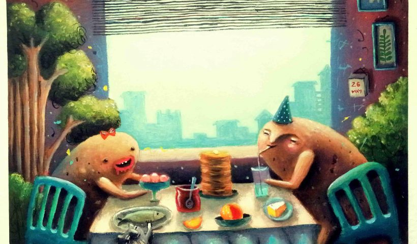 "6y6jl8idm6151 820x480 - ""Romantic date with potatoes"", acrylic, canvas, 40*40 cm - hobbies, crafts"