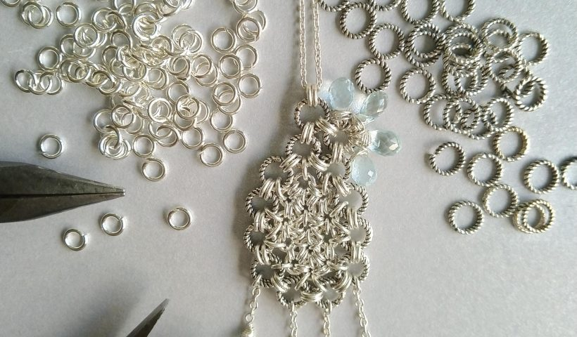 jnp7f05yl7w41 820x480 - Day 25 #100daysofjewelrycreating Another hand weaved pendant from sterling silver jump rings decorated with tear drop shaped aquamarine - hobbies, crafts