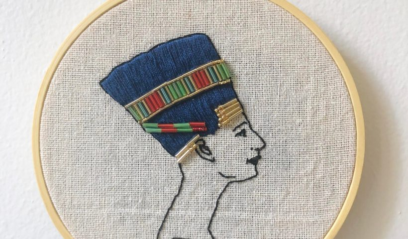 bp24o24bka751 820x480 - You guys liked my Nefertiti, so here's it completed with backing! People who embroider in hoops, how do you finish the backs? I usually use a soft felt disk - hobbies, crafts