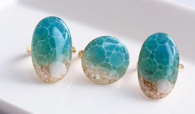 octd79kjrx051 820x480 - Ocean rings made with real sand and shells. I used resin for the water part! - hobbies, crafts