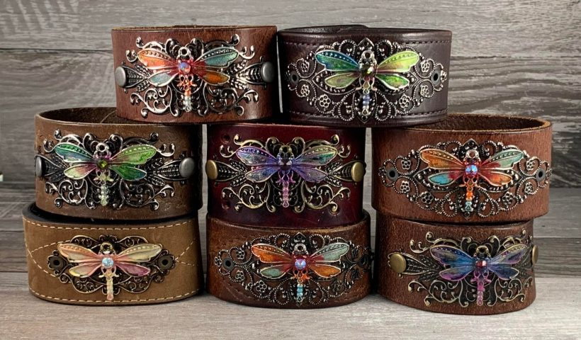 rvkroclfjb451 820x480 - Hand painted dragonfly and filigree cuff bracelets for her made with straps from recycled distressed leather belts. - hobbies, crafts