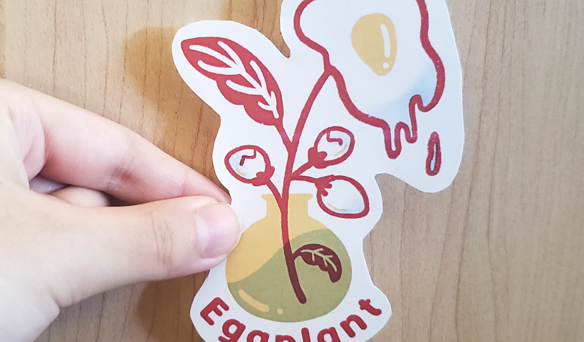 "0xaabo08hhc51 820x480 - Handcut sticker of my ""eggplant"" design! - hobbies, crafts"