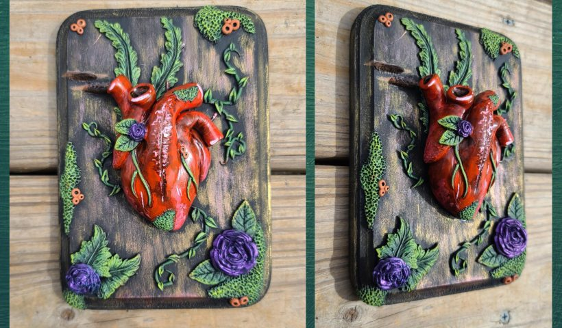 """fi6pcx2d5ic51 820x480 - Finished this fun anatomical heart and flora sculpture piece last night, and absolutely love how it came out! Created with Super Sculpey Original and CosClay on a wooden plaque. Measures a total of 7""""x5"""". - hobbies, crafts"""