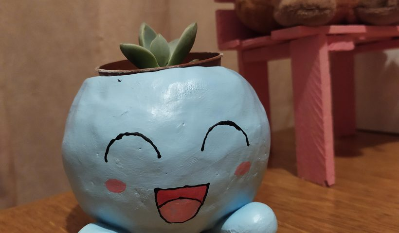 9kqgjqqedic51 820x480 - Airdry clay plant pot - baby Oddish with baby succulent leaves - hobbies, crafts