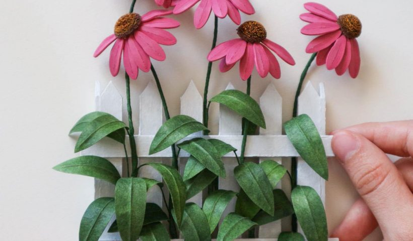 cs3llpb436h51 820x480 - I made some paper quilling echinaceas and a mini white picket fence. - hobbies, crafts