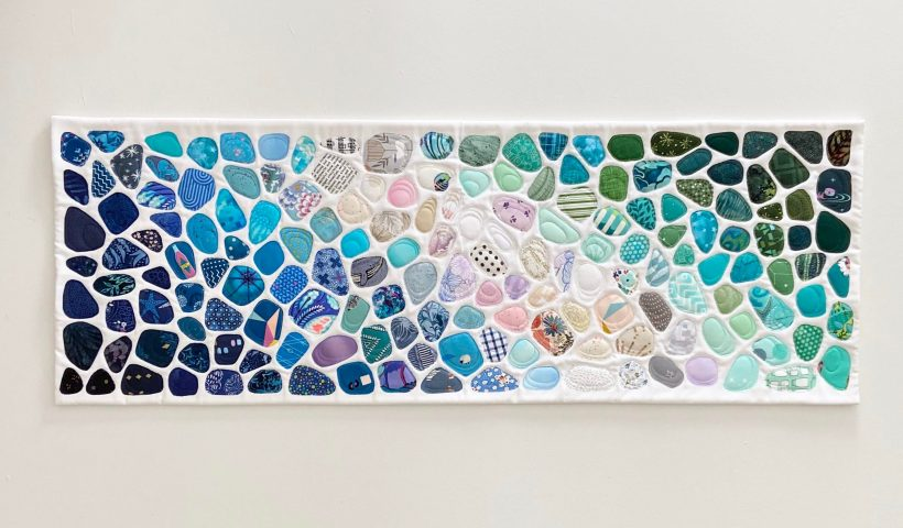 """qq9nyz1mh6j51 820x480 - I make seaglass art quilts using only fabric and thread. This one is 14x40"""" - hobbies, crafts"""