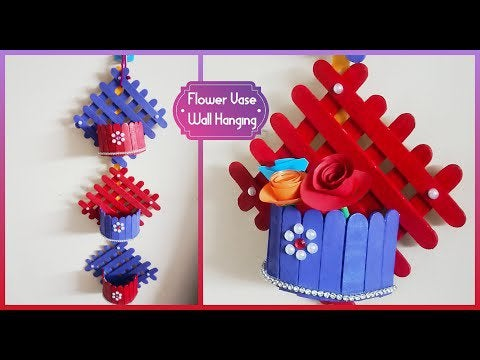 smzGQtYE6o9g2mGc85KVxEgOrp6W3ye8XWNATYfuUPw - Simple Flower Vase Wall hanging using Ice Cream Stick|Popsicle Wall hang... - hobbies, crafts