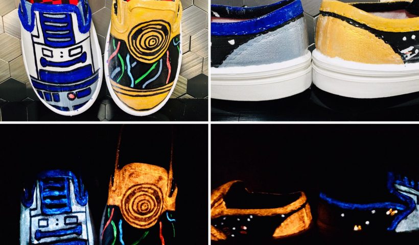 9860gsyoh9j51 820x480 - R2D2 and C3PO hand painted shoes - hobbies, crafts