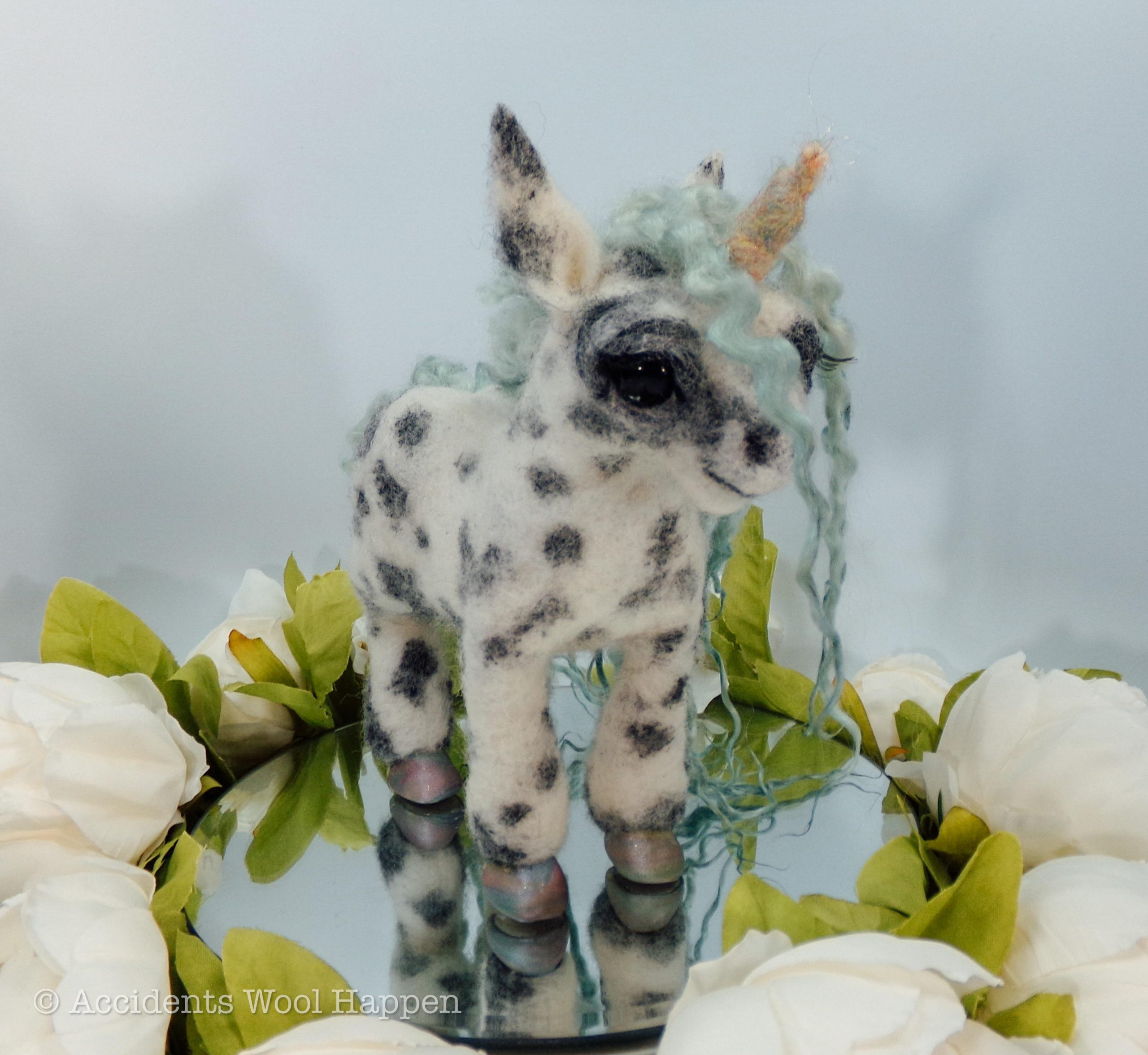 bb9us6g4gem51 scaled - Meet Mika, the baby black and white spotted needle felted unicorn! - hobbies, crafts