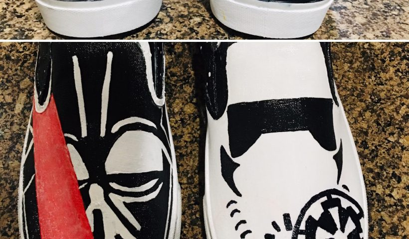 h2cz4vw3i9j51 820x480 - Darth Vader and Storm Trooper Hans painted shoes - hobbies, crafts
