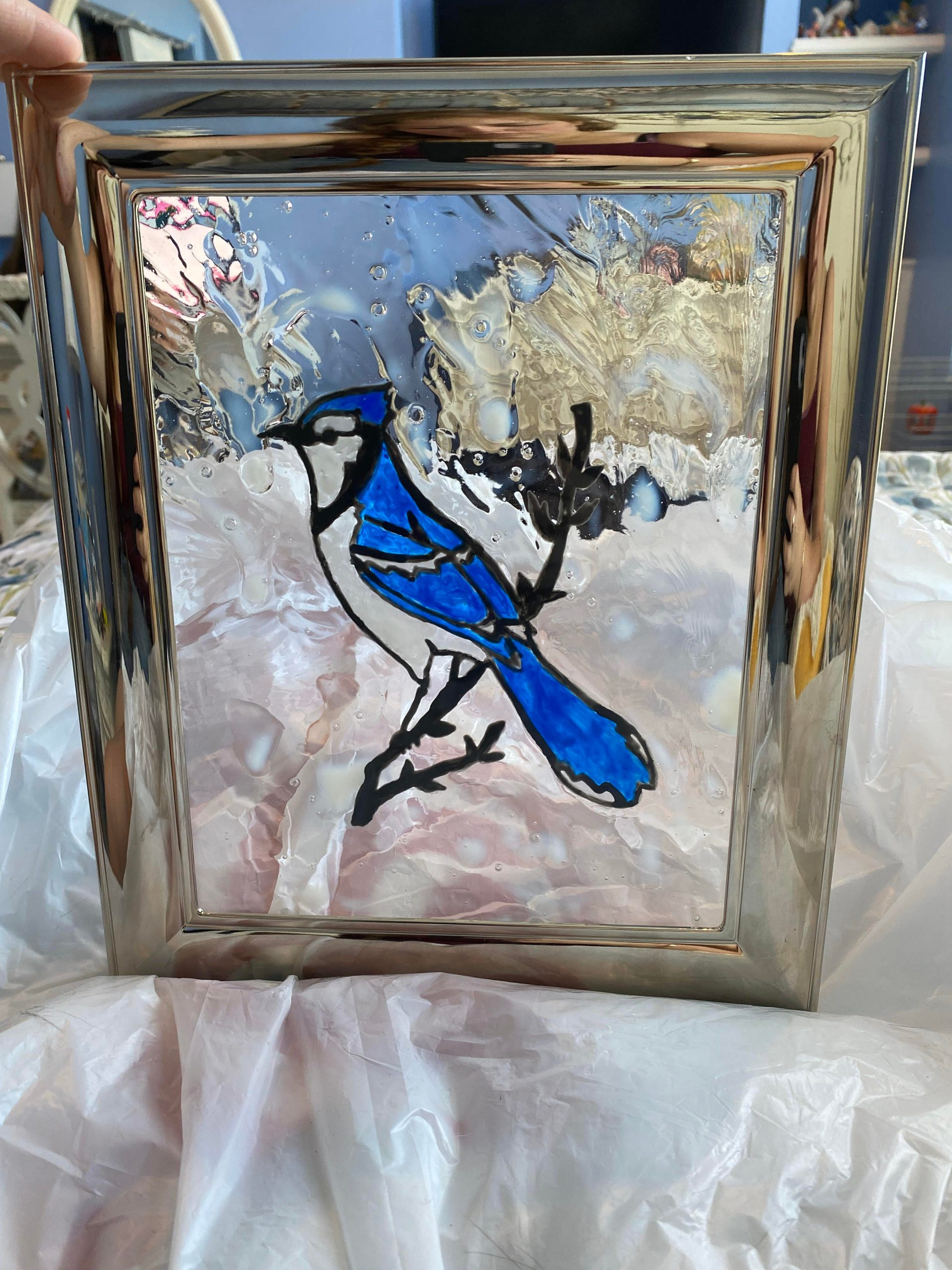 """jhhvpwrqhdm51 scaled - Saw someone make """"stained glass"""" with picture frames on Instagram and decided to try it out and make this gift for my dad. :) - hobbies, crafts"""