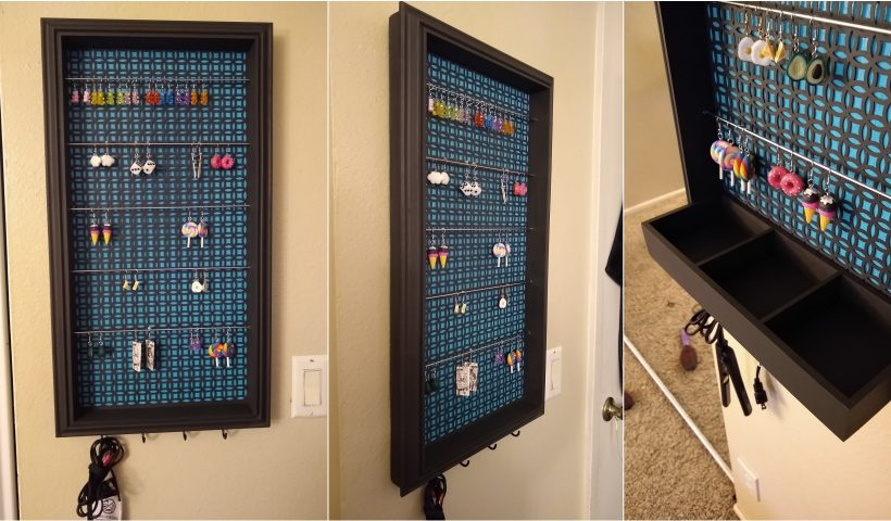 n4akeq7po7j51 820x480 - My brother and I custom built an earring hanger for my daughter. Complete with 5 bars for hanging her hook earrings, 4 hooks on the bottom for whatever, and a tray that attaches & detaches with magnets mounted in the back. - hobbies, crafts
