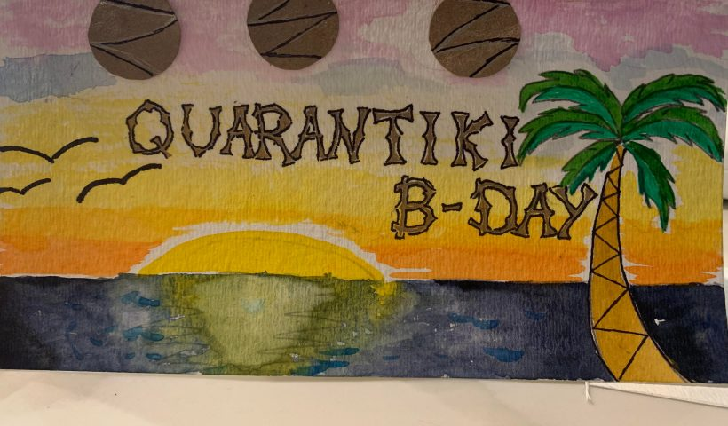 f6meppnvr0p51 820x480 - Made a birthday card for my husband's upcoming tiki themed birthday. Water color and those are supposed to be paper lanterns - hobbies, crafts