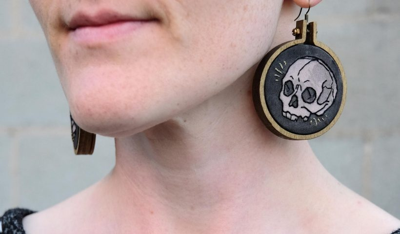 tjgk5tgufyo51 820x480 - Cross-post from r/Embroidery - What do you think of these little skull earrings I made? 💀✨ - hobbies, crafts