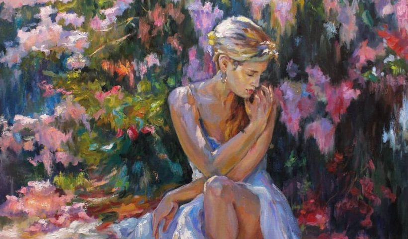 """umwfjymhput51 820x480 - Oil on canvas """"Girl and lilac"""". 80x70 cm. 2019 - hobbies, crafts"""