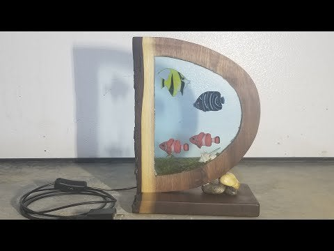 wbkHBSOL QcwcNklVipUkX9c 0bsSRGuEZCNfZgELNg - Dylan's Night Lamp - Aquatic themed night lamp made from casting epoxy resin inside a beautiful piece of black walnut. - hobbies, crafts