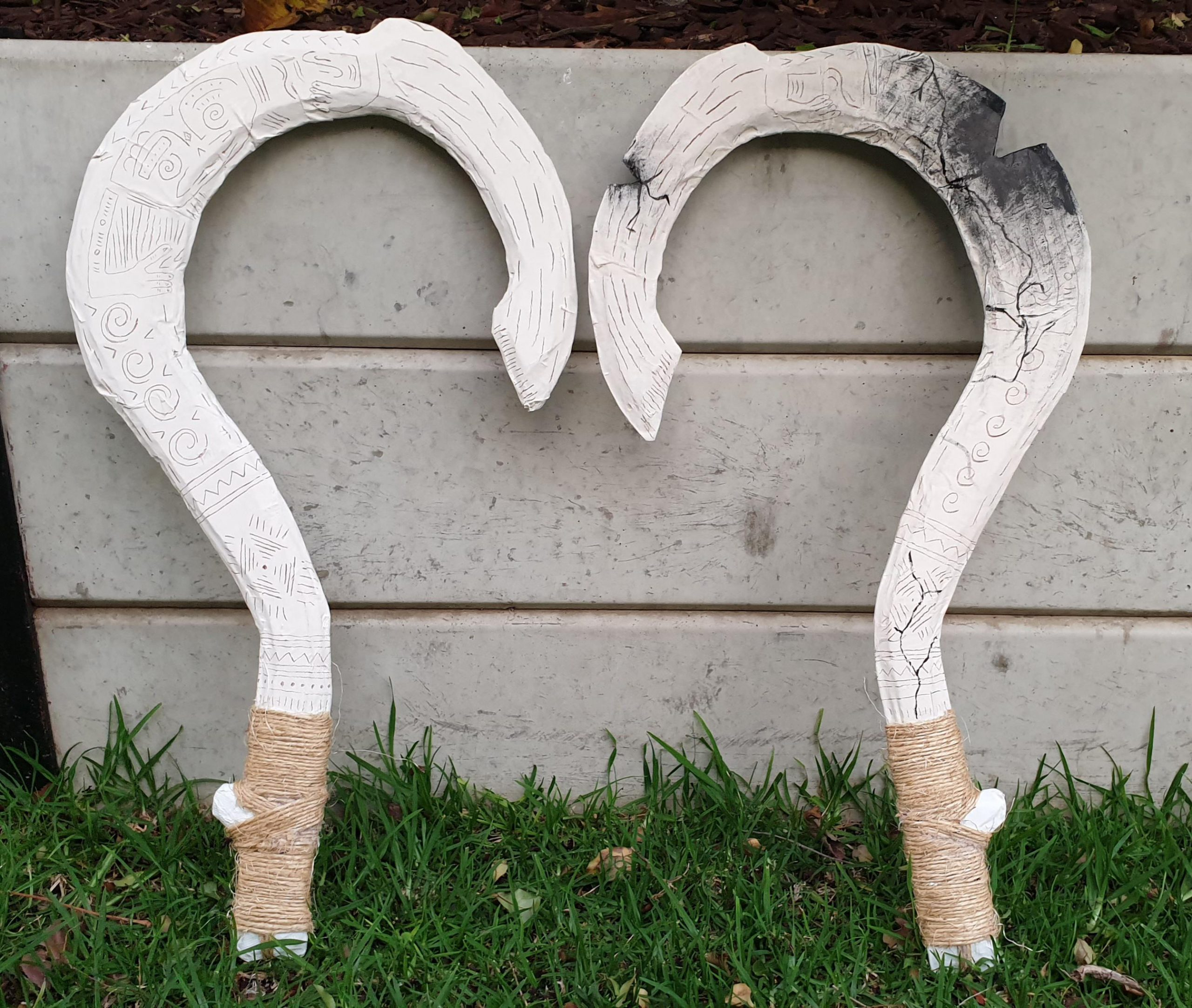 xwxr2ax4jqr51 scaled - Maui's hooks for my work production of Moana (cardboard and paper mache). I'm the unofficial prop maker while I work on admin, and I'm pretty proud of this one! - hobbies, crafts