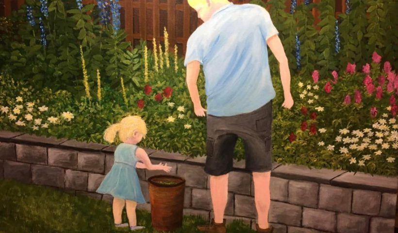7uuccncsfb361 820x480 - My dad has been experimenting with painting, he painted this, it's a picture of him and my niece in the garden, what do you think? - hobbies, crafts