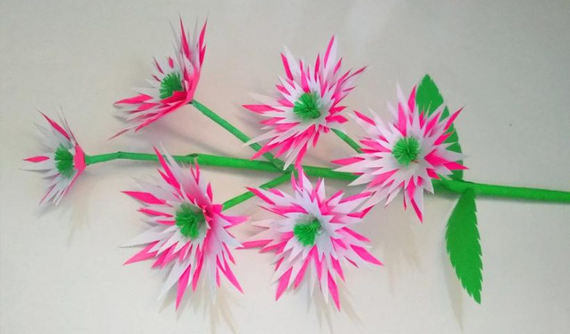 yvn33bk4y3b61 820x480 - Handmade flower stick made by me with paper - hobbies, crafts