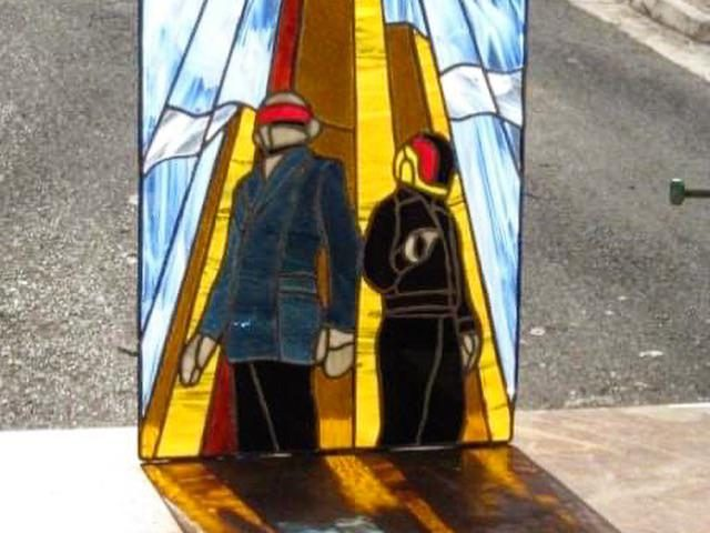 7retxwwdi9j61 640x480 - Daft Punk Stained glass I made in 2008. Thought it'd be fitting to share. - hobbies, crafts